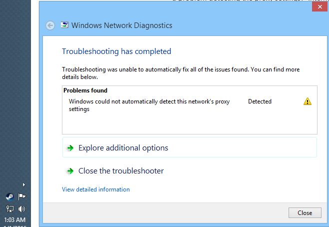 windows can t detect proxy settings
