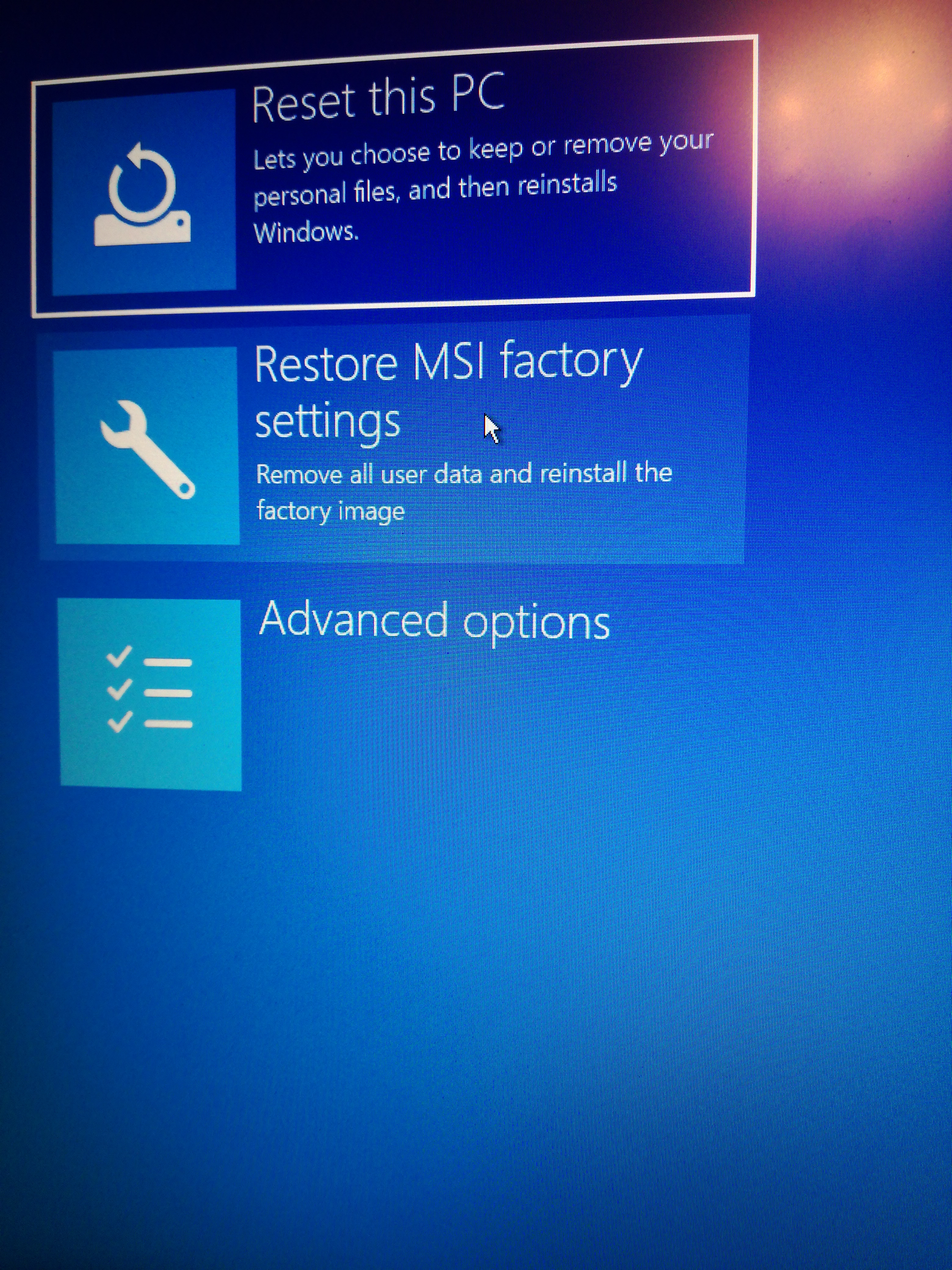 Stuck at recovery loop and MSI factory reset with Reagant
