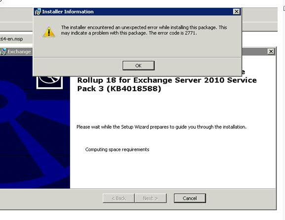 Error 2771 while installing Exchange 2010 SP3 RU22 Initial