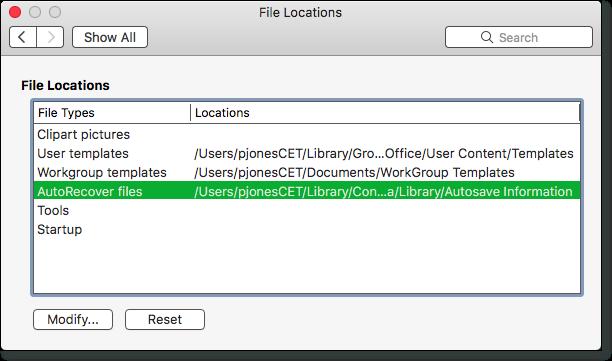 office 2015 autorecovery mac