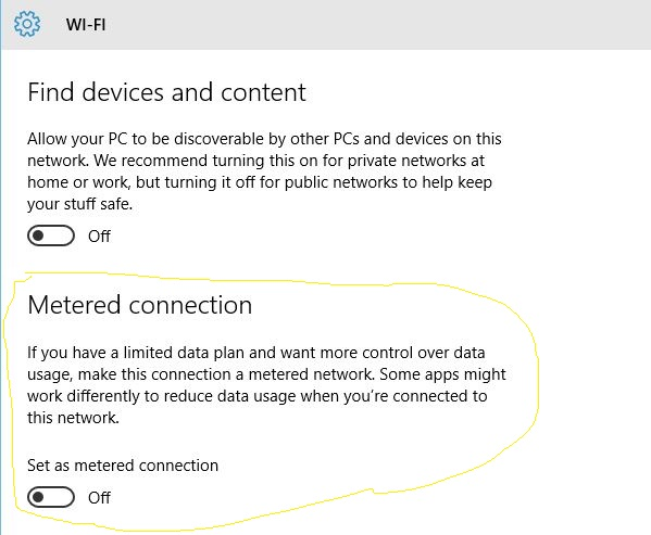 Metered Connections - Microsoft Community