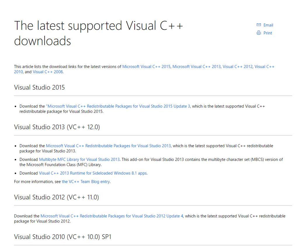 microsoft vc redist package download 2015