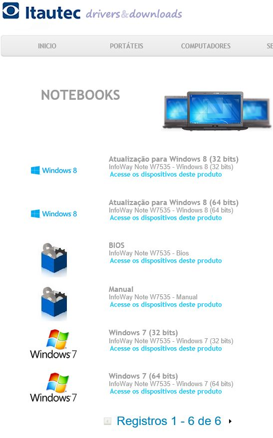 baixar drivers do notebook itautec w7535