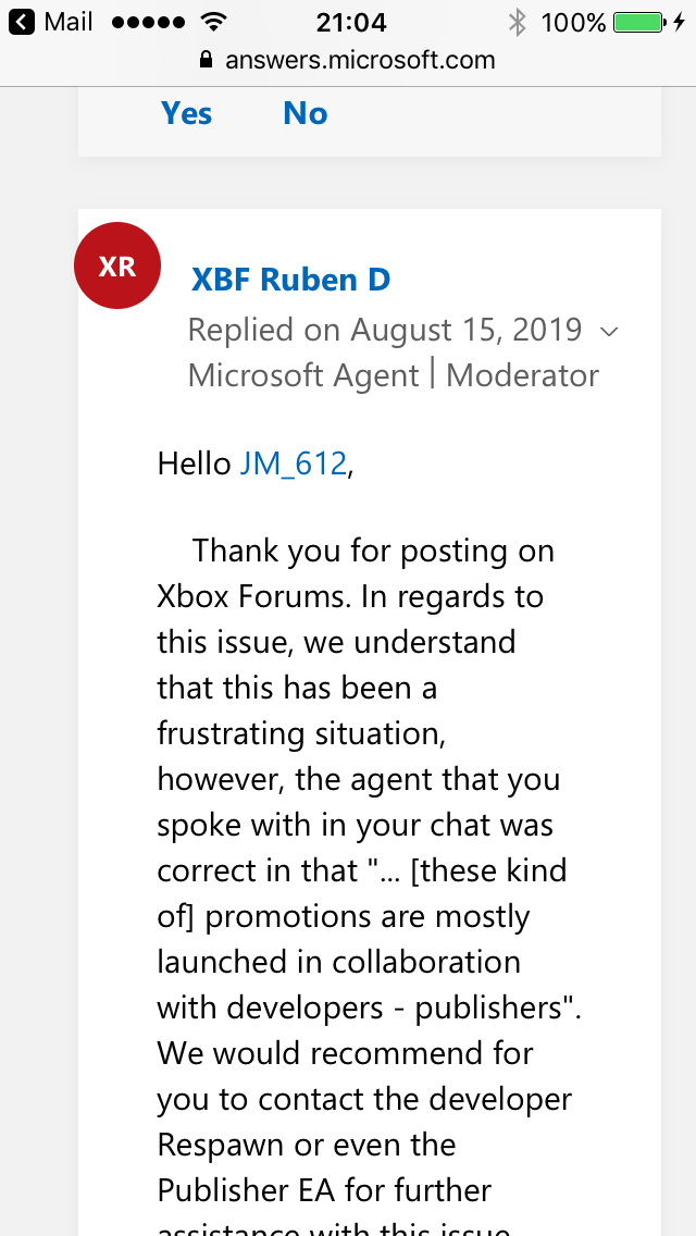 Xbox support is terrible part 2. [IMG]