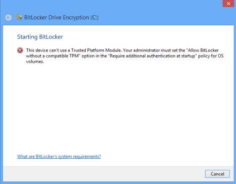 Cannot turn on Bitlocker
