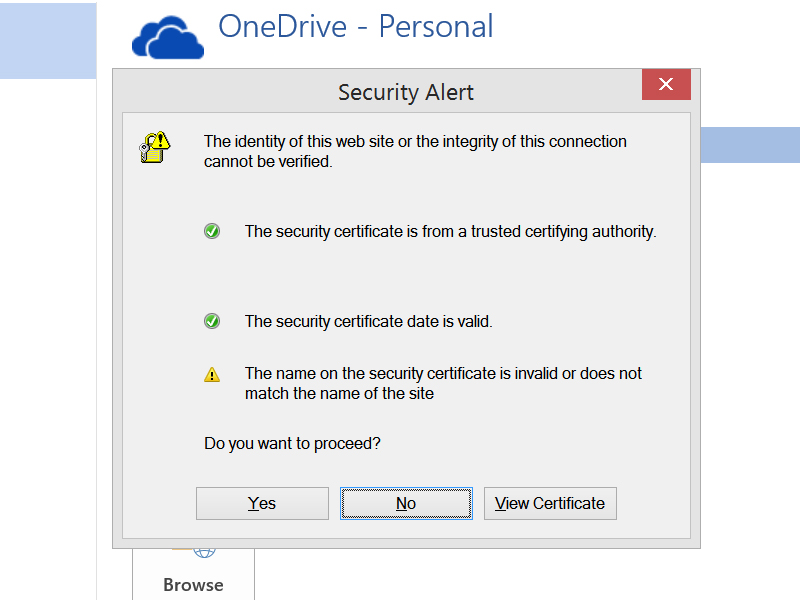Constant Security Certificate Error Microsoft Community