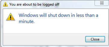 Computer shutdown randomly, error: Windows will shutdown in less