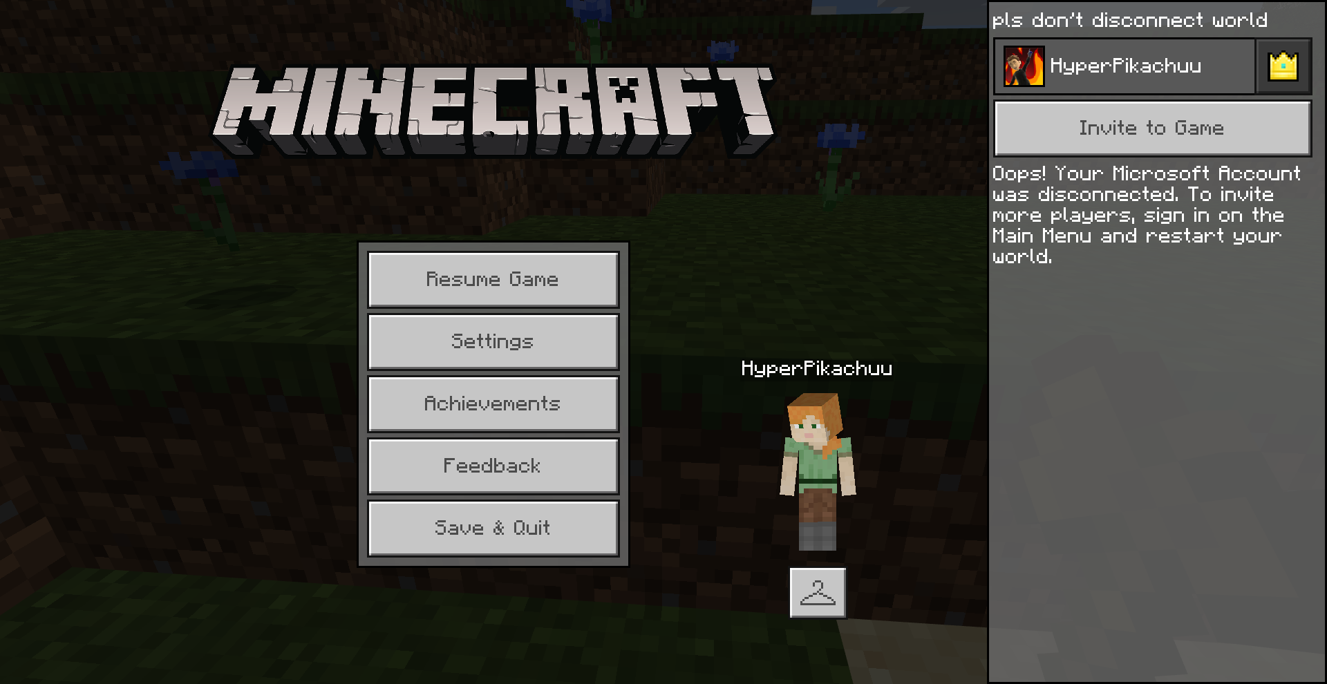 Minecraft windows 11 world keeps getting disconnected from my