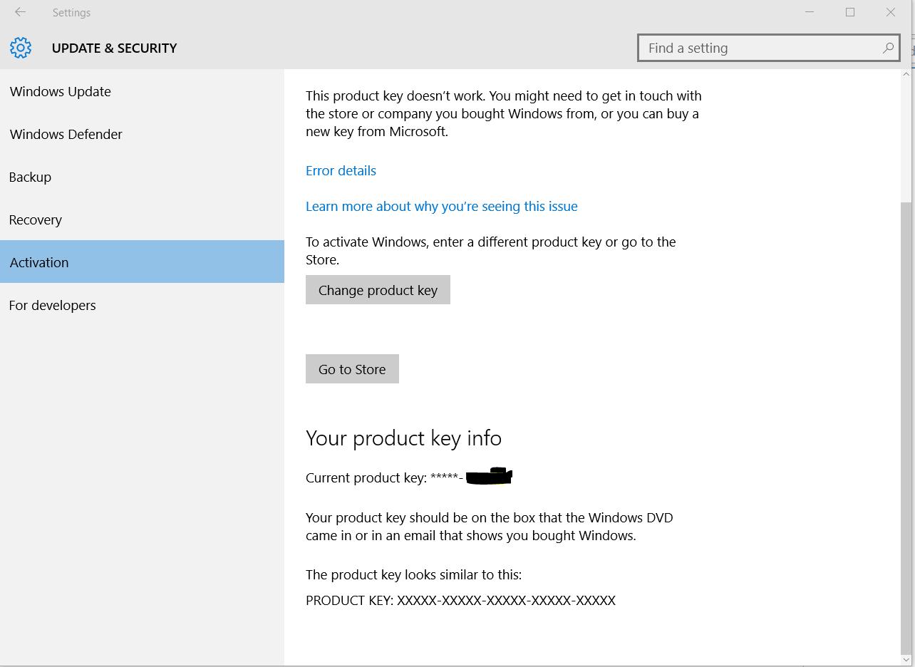 windows 10 wont accept my product key