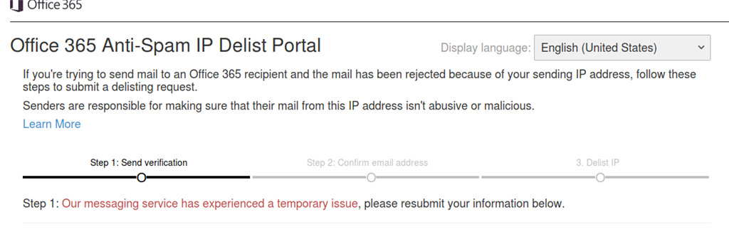 Office 365 email delist portal is throwing an error when trying to