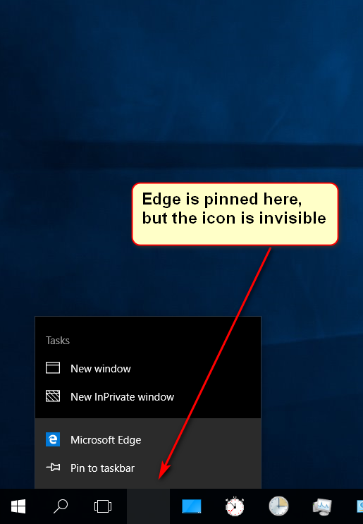 Microsoft Edge icon has gone invisible in Taskbar in Windows 10 v