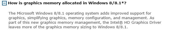 Why is the dedicated video memory in Intel HD4000 is only
