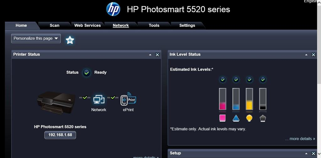 How do I check ink levels on HP printer with Windows 8