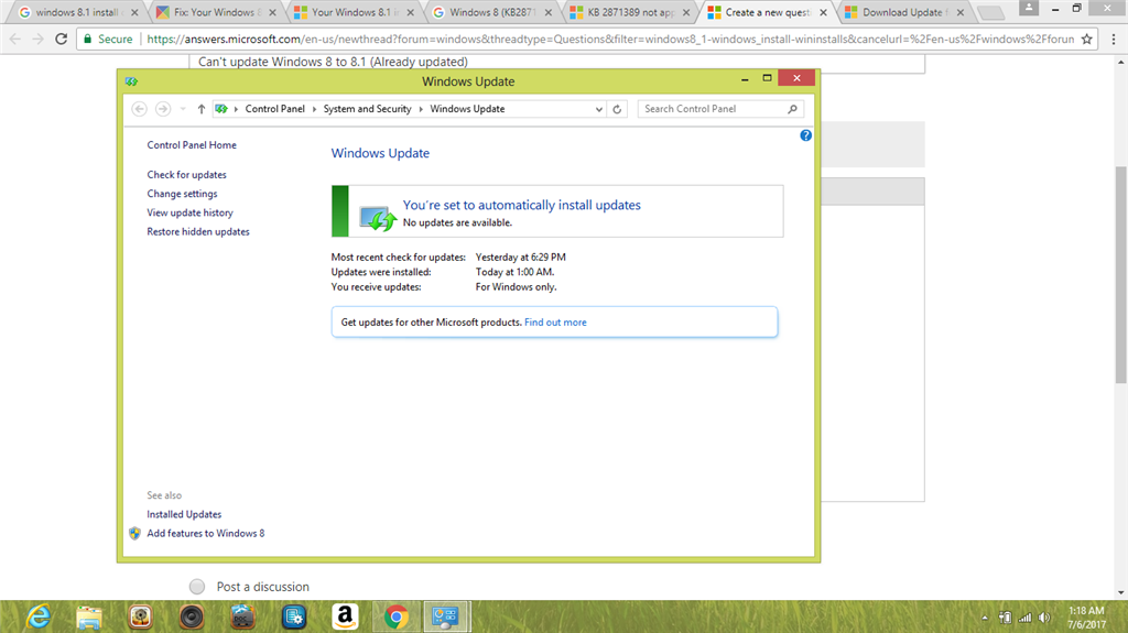 Not updating to windows 8 1