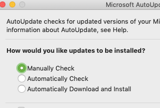 Office 365 for Mac Update notification disable - Microsoft