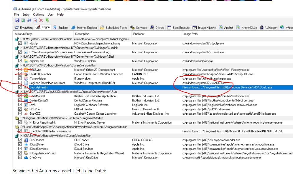 """Auch beim Klick auf """"Windows Defender Security Center öffnen"""" in den Einstellungen tut sich nichts"""