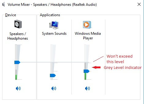 Windows Volume Mixer - grey volume indicators - Mean what