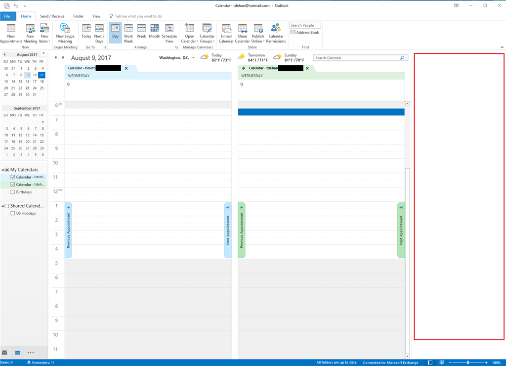 How to get rid of new right side panel in Outlook Calendar