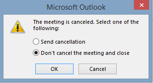 Cancelled meeting without sending recipients update, can it be