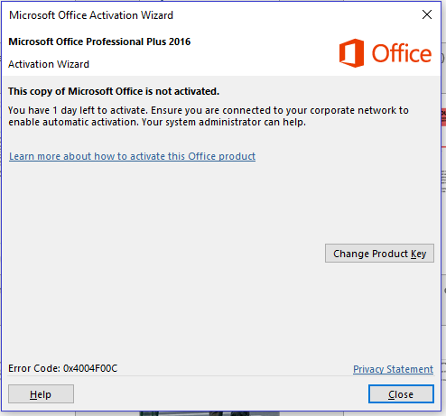 Office Home & Student 2016 keeps asking for activation - Microsoft