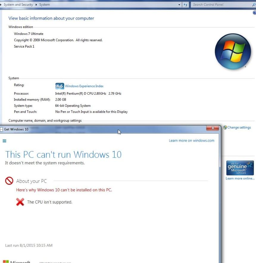 windows 8 processor not supported