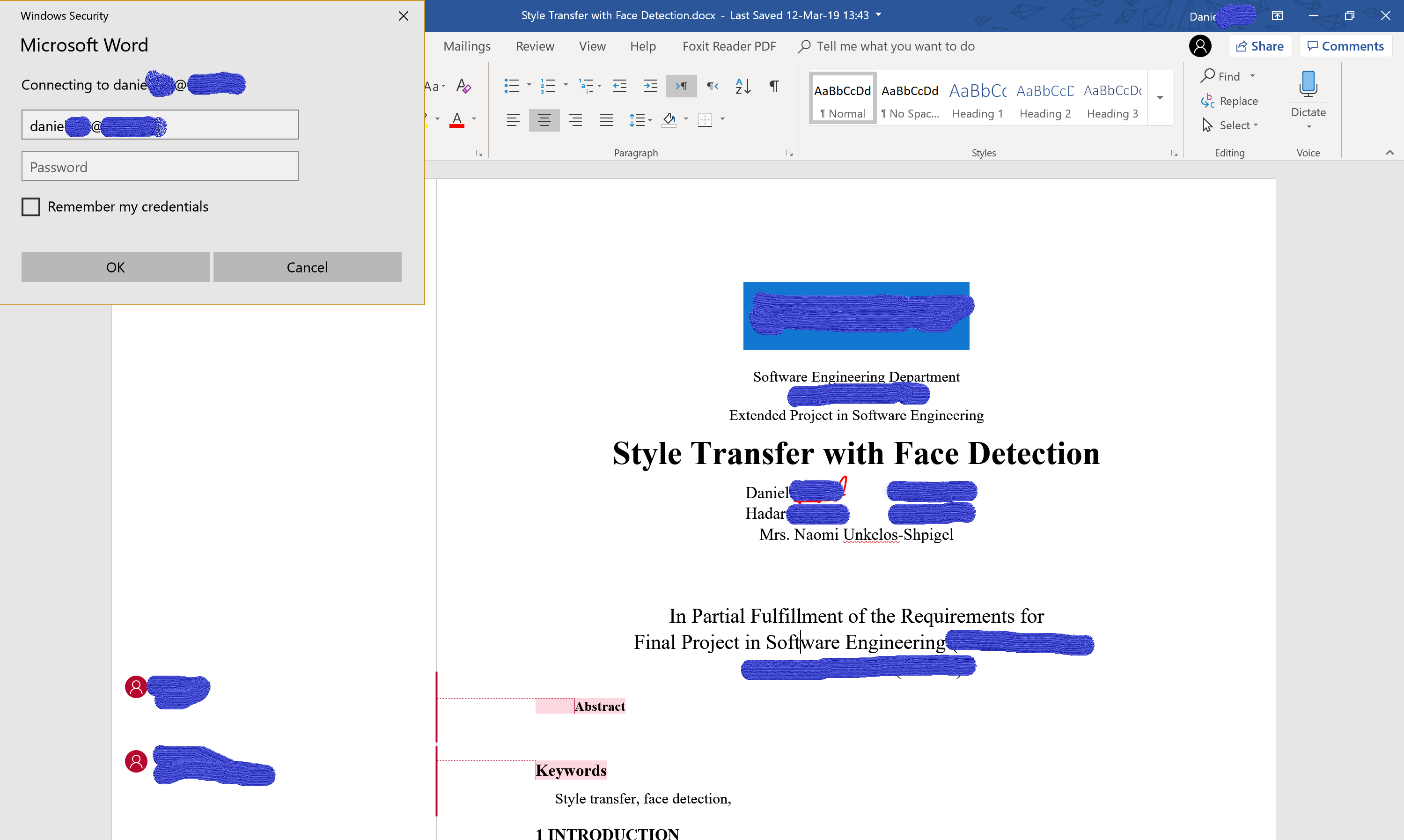 microsoft word keeps asking for credentials on unrelated account