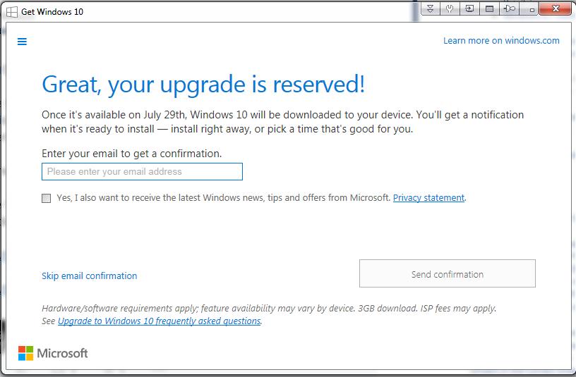 Windows 10 Registration E Mail Address