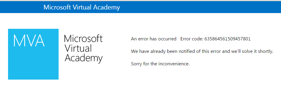Cannot login to MVA - Training, Certification, and Program Support