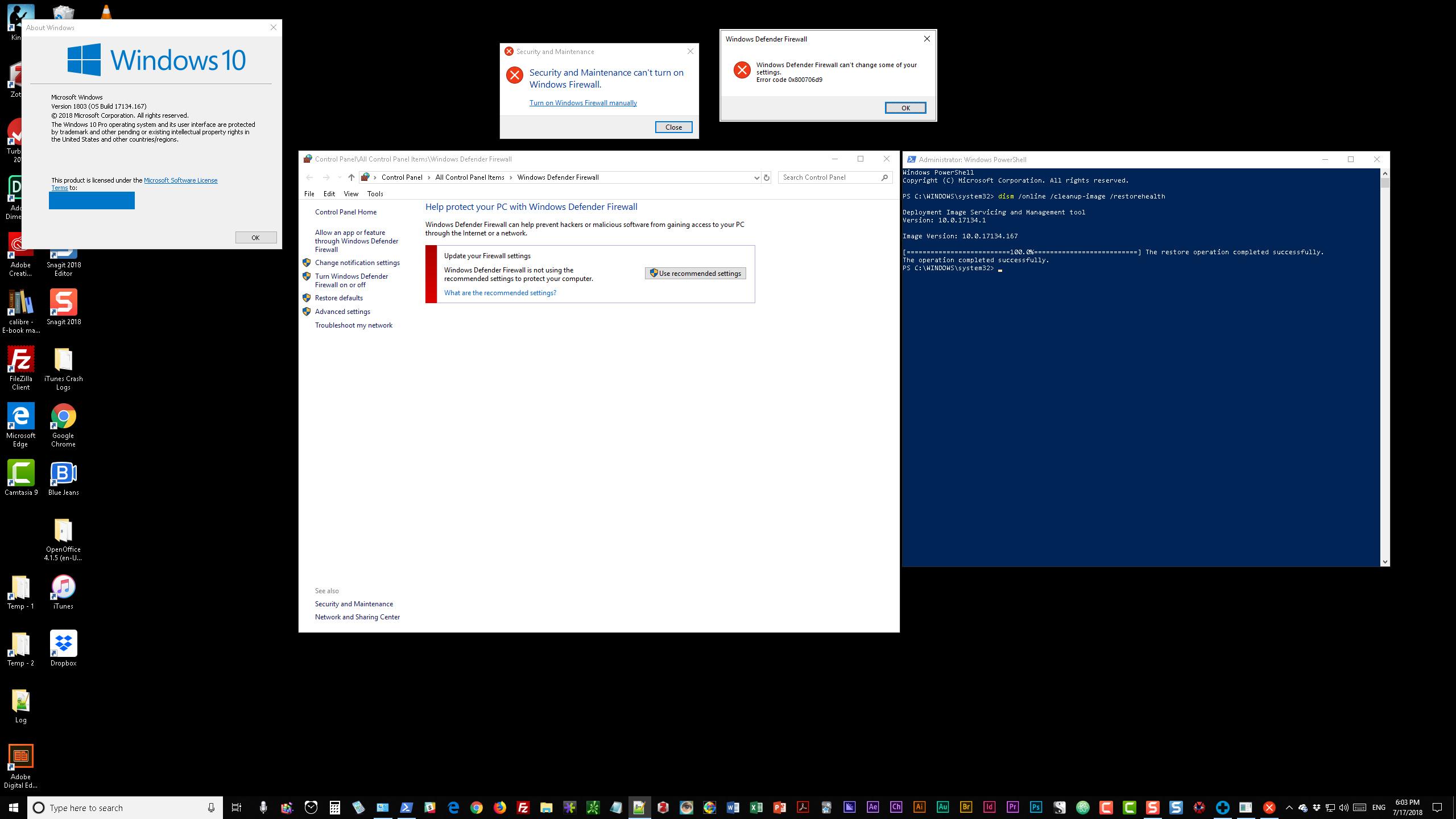 case number 1433771191 windows firewall error codes 0x800706d9