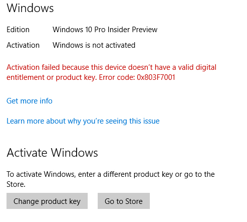 activation failed because this device doesnt have valid digital entitlement or product key