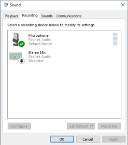Headset Mic not working and not showing up on Recordings Tab