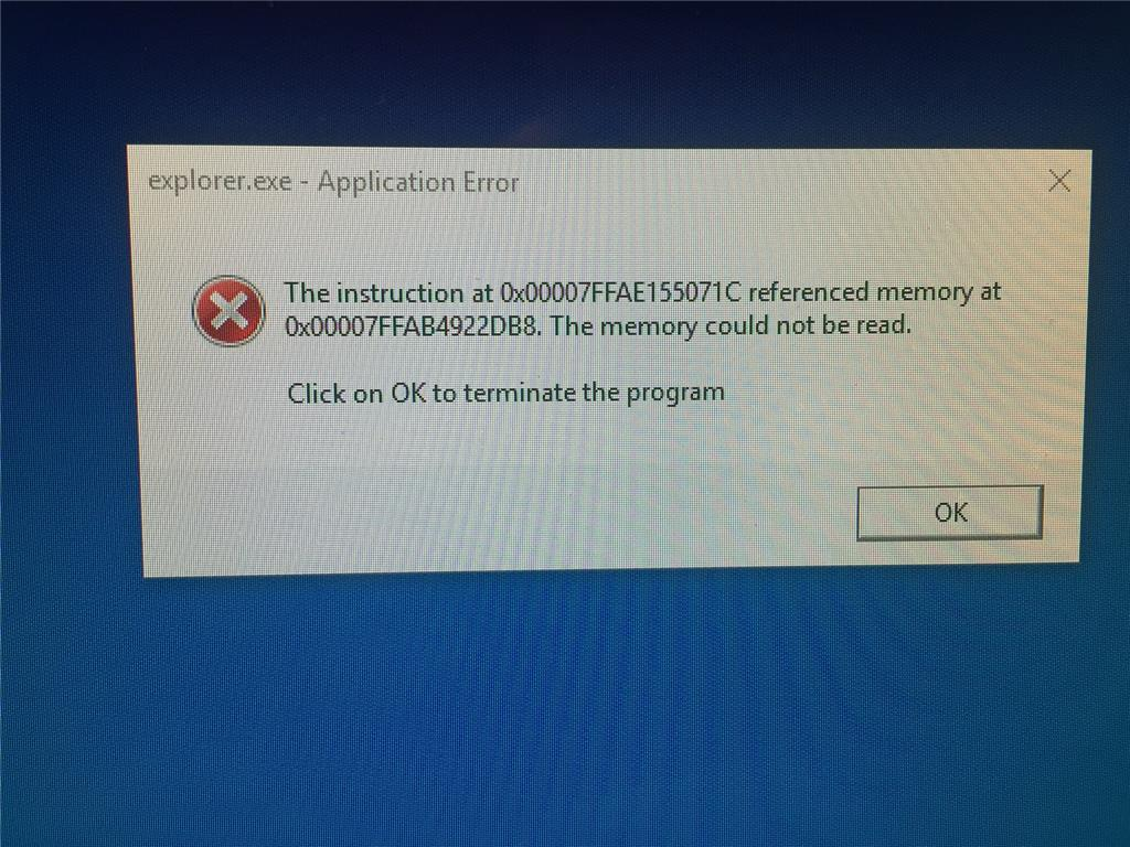 Win 10 Explorerexe Error The Instruction At 0x00007ffee39ecc60
