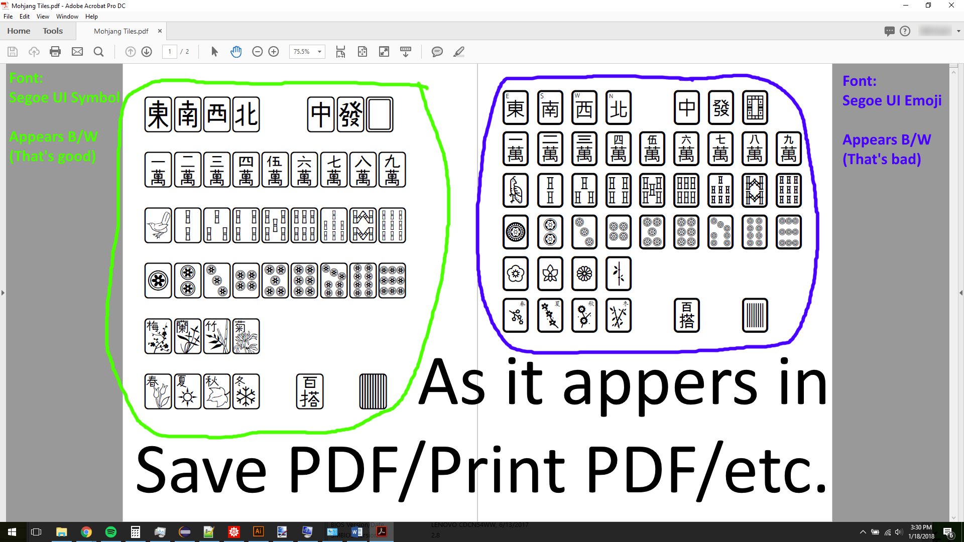 Unicode Character Appears Colored On Screen Prints As Black And