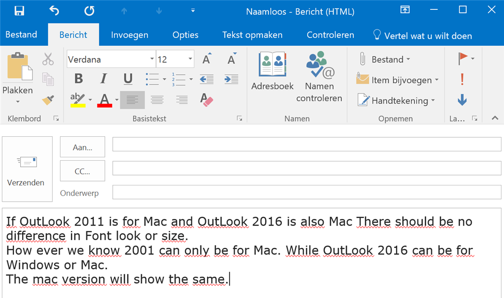 how to change font size in outlook 2016