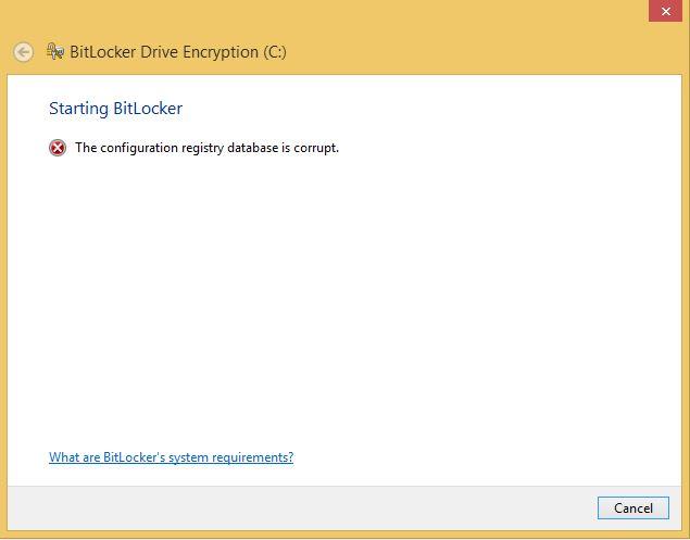 Bitlocker suspend-resume problem. The Configuration registry