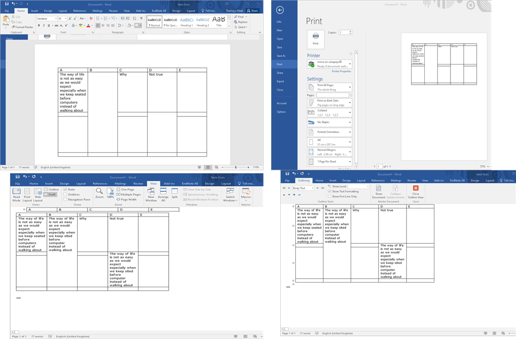 Text Disappearing From Merged Cells In Table Using Microsoft Word