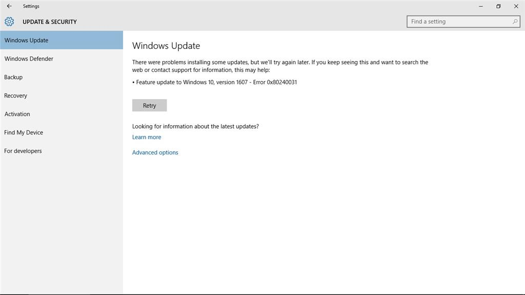 Windows Update anniversary update fails to install with