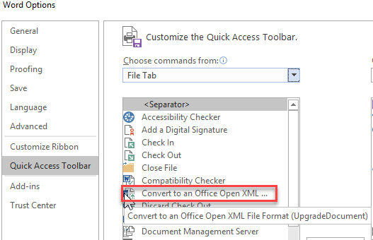 Word 2016 File Convert Command Microsoft Community