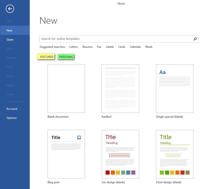 Word 2013 templates featured vs personal vs microsoft community image toneelgroepblik Image collections