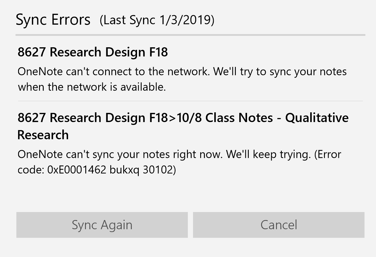 Months of OneNote Sync Error code: 0xE0001462 bukxq 30102