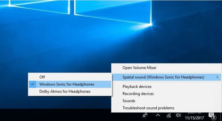 Spatial Sound (windows sonic for headphones, Dolby Atoms for