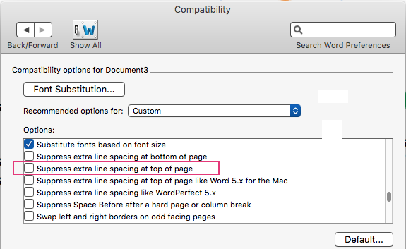 Text and line numbers do not line up at top of page - Word for Mac