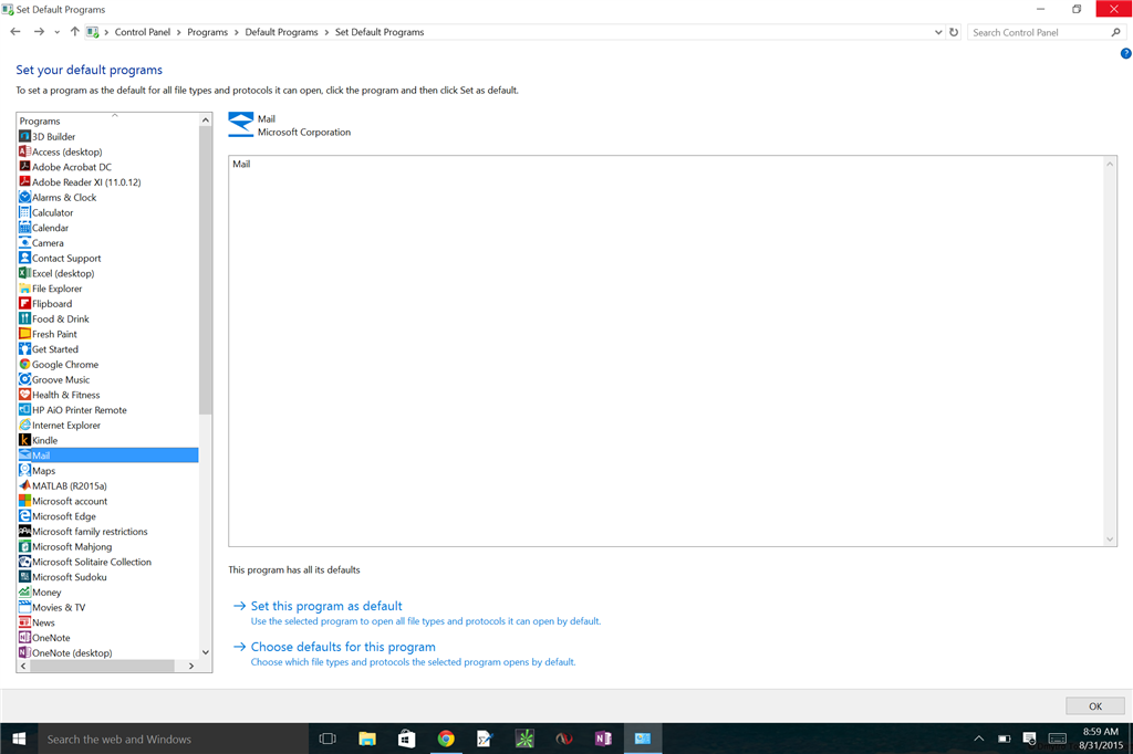 how to set outlook as default email client windows 10