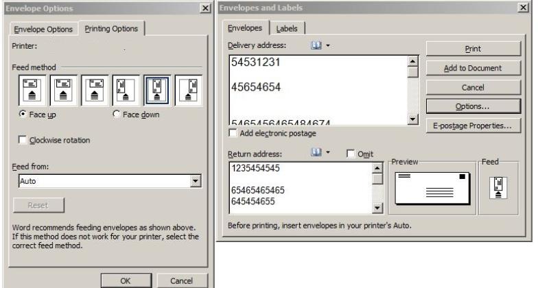 unable to print envelope address