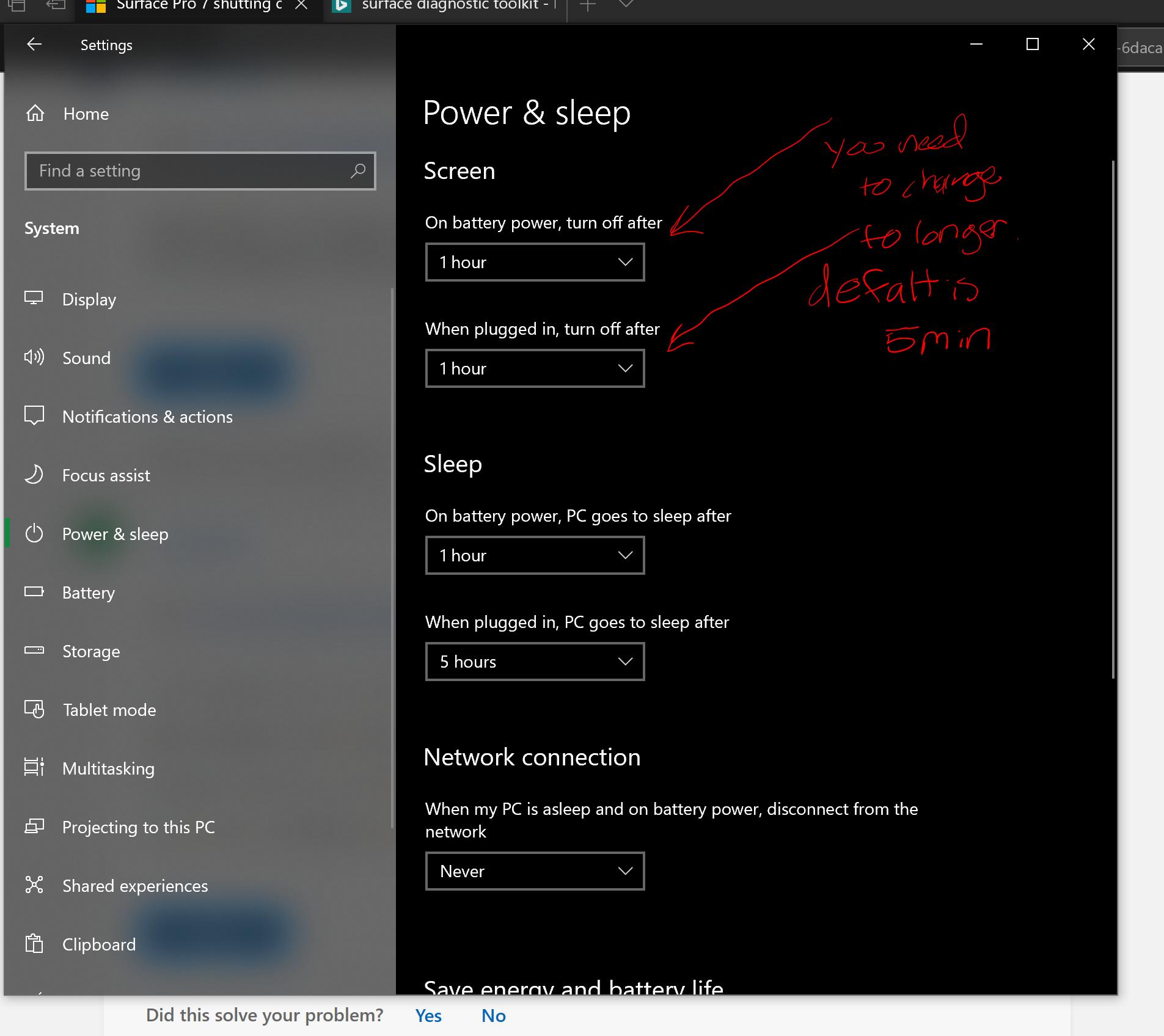 Energieeinstellungen Surface Pro 7