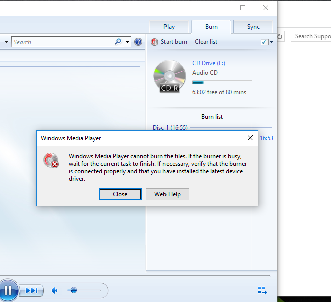 I can't burn a CD using Windows Media Player - Microsoft