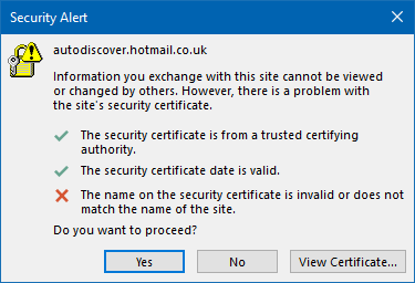 Hot Mail Co Uk >> Certificate Issue Outlook 2016 365 With Hotmail Co Uk The