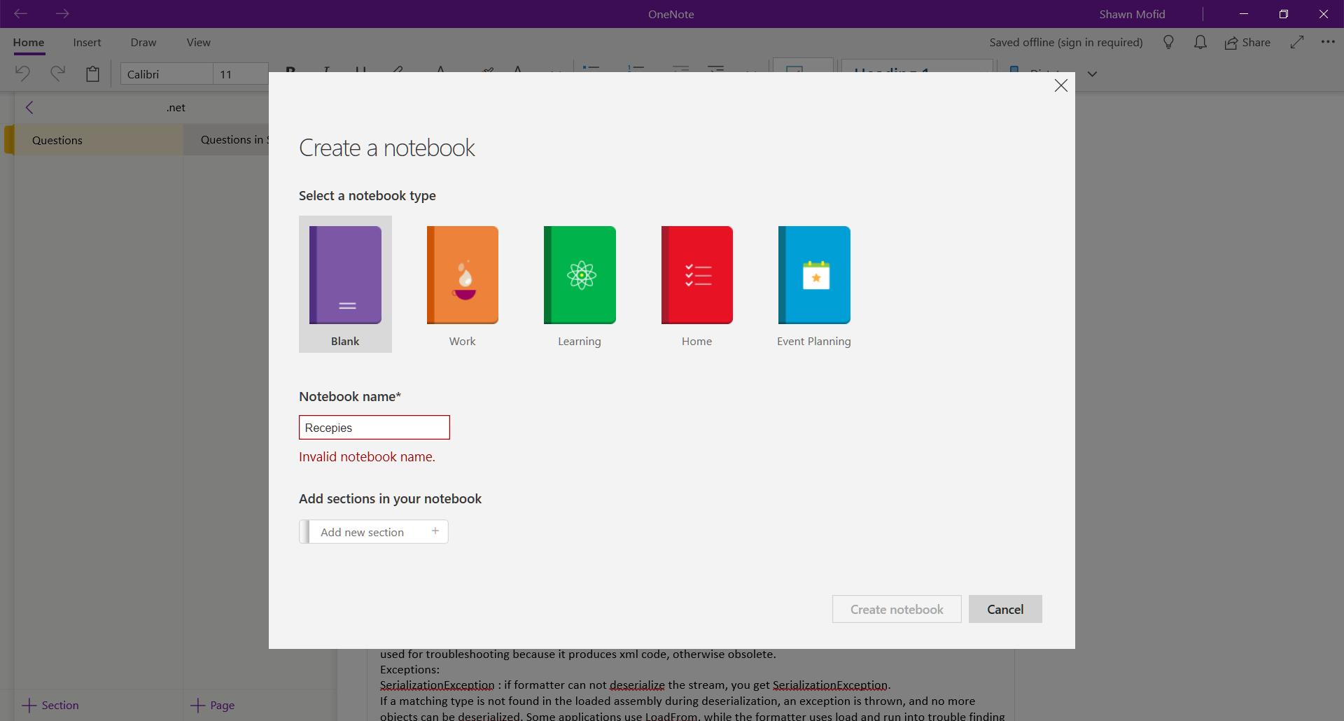 Invalid notebook name error - Microsoft OneNote - Microsoft