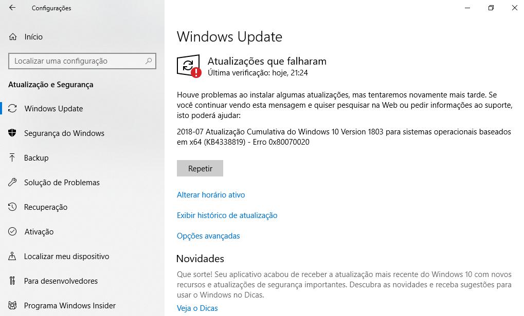 Atualização Cumulativa do Windows 10 Version 1803 para