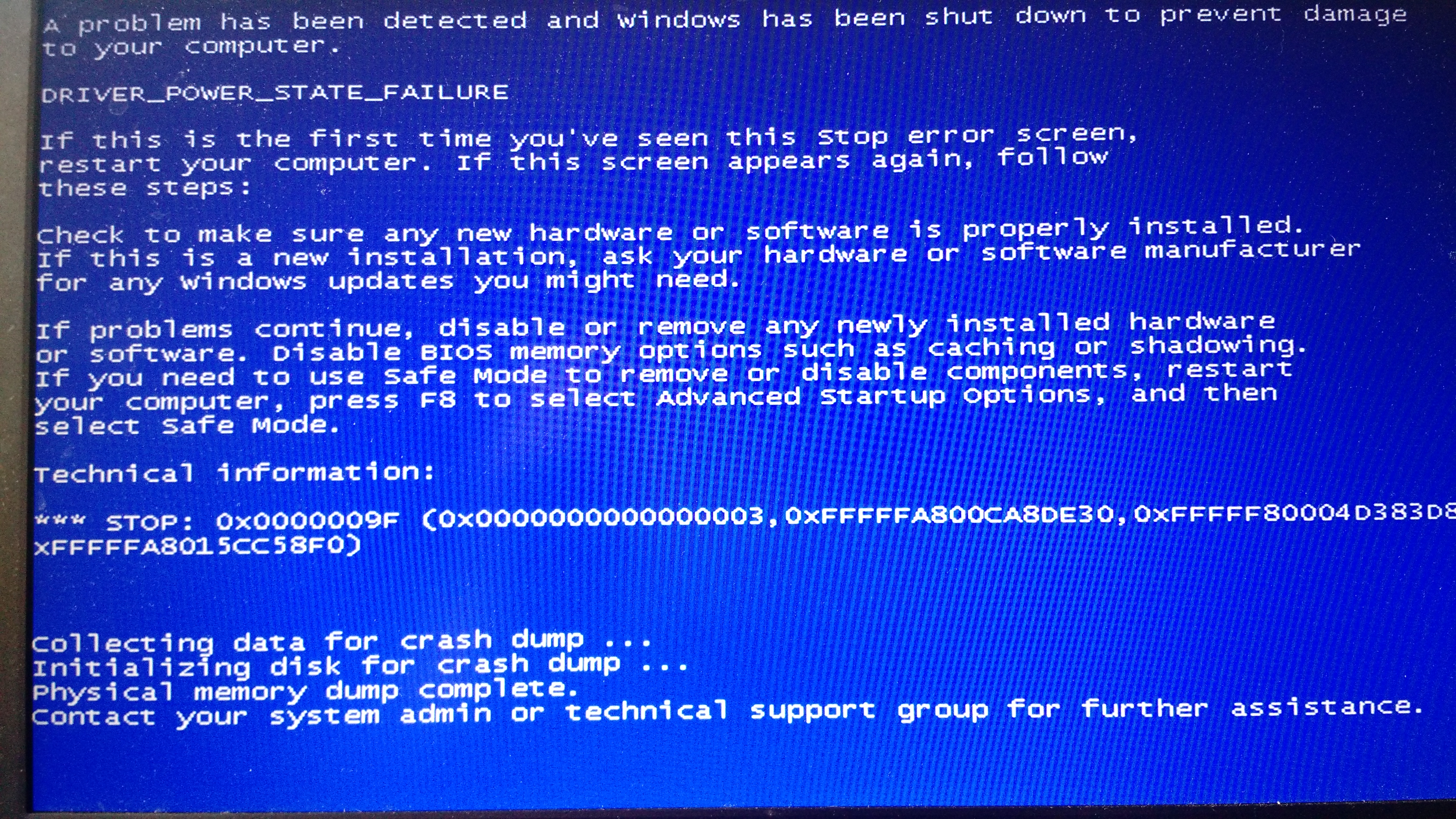 Windows 7 blue screen shortly after waking from hibernation